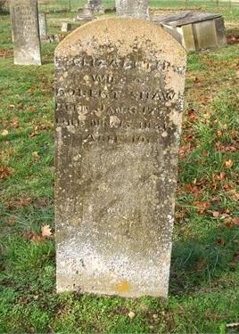 Elizabeth Hamilton Shaw tombstone.
