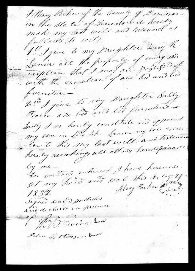 Will of Mary Whitnel Parker, Davidson County, TN, 29 February 1832