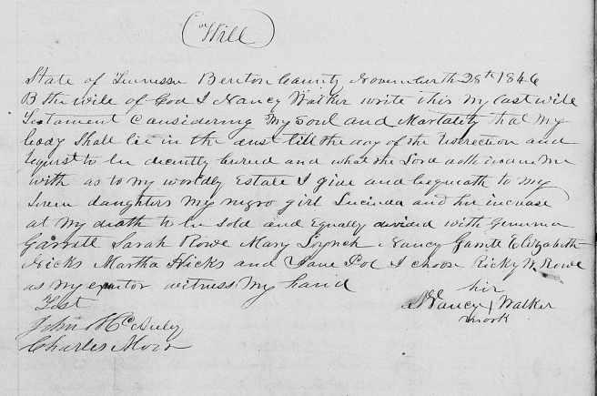 Townsend, Nancy (Walker) 28 Nov 1846 will