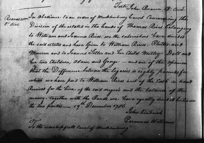 Neal, David 19 Dec 1786 division of estate