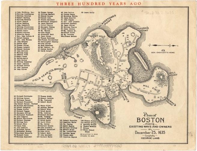 1635 Map of Boston